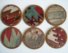 Sukan / Hand Woven Turkish Antique Kilim Cups Coasters by sukan. $36.00 USD, via Etsy.