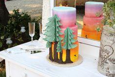 Northwest sunset wedding cake
