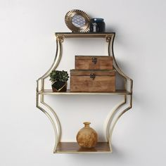 Kate and Laurel Liara Walnut Wood and Gold Floating Shelves