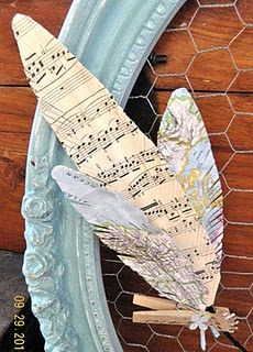 I love these feathers out of maps and sheet music