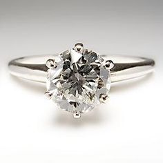 Conflict Free VS1 Old Euro Diamond Engagement Ring Platinum Crown Mounting