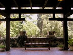 A covered porch at the Gamble House, designed by Greene and Greene Architects.