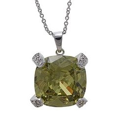 Grand Lux -Simulated Limon Rhodium Plated Pendant