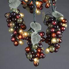 Wine Decor items like wine wall decor, wine kitchen decor, wine flags Wine Wall Decor, Cluster Lights, Green Grapes, Tuscan Decorating, Deco Table, Christmas Lights, Christmas 2016, Christmas Decor, Light Decorations