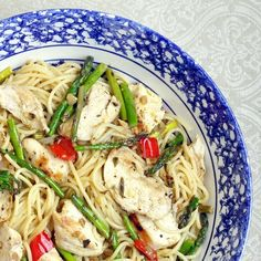 Lemon Chicken Asparagus Spaghetti - Happy National Spaghetti Day! Here's something different, easy to make and absolutely delicious to celebrate! Use whole wheat pasta to make it extra healthy!