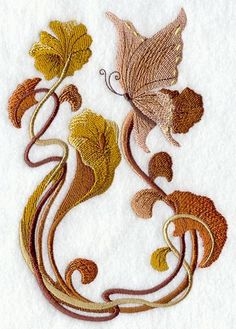 Art Nouveau Butterfly Embroidered Terry by forgetmeknottreasure.etsy.com