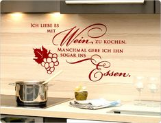 Wandtattoo Ich liebe es mit Wein zu kochen
