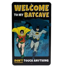 "DC Comics ""To My Batcave Don't Touch Anything"" Batman and Robin, Vintage Embossed Metal Wall Art Sign - an Officially Licensed Product Great Addition To Add What You Love to Your Home / Garage Decor Tin Signs, Metal Signs, Wall Signs, Batman Bedroom, Diner Decor, Tin Walls, Book Wall, Dc Comics Superheroes, Dont Touch"