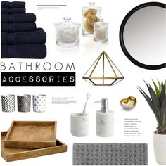 Bathroom Accessories by emmy on Polyvore featuring interior, interiors, interior design, home, home decor, interior decorating, Crate and Barrel, CB2, Pier 1 Imports and Michael Aram
