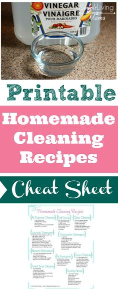 FREE Printable Homemade Cleaners Cheat Sheet – Natural Cleaning Recipes No more scouring the internet for homemade cleaning recipes. Find all of your favorite recipes on this one sheet! Natural Cleaning Recipes, Deep Cleaning Tips, House Cleaning Tips, Natural Cleaning Products, Cleaning Hacks, Zone Cleaning, Green Cleaning, Diy Hacks, Diy Cleaners