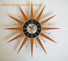 GEORGE NELSON STAR Ball atomic retro style CLOCK MIDCENTURY danish MODERN FUNKY