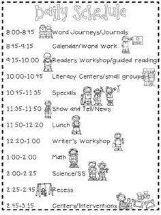 FREE Daily Schedule Reproducible. Organization, Classroom Management, and Scheduling tips and techniques to operate a smooth kindergarten classroom.
