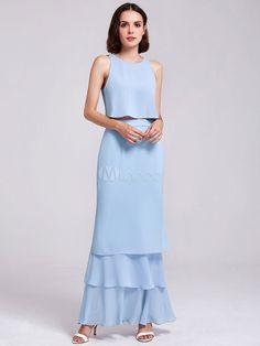 Long Prom Dress Two Piece Chiffon Ruffles Tiered Back Design Formal Party  Dress  Piece 182ff42db867