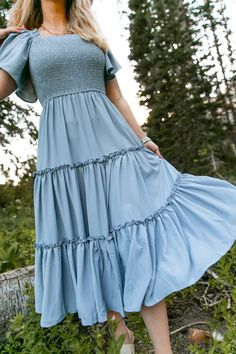 Pretty Outfits, Pretty Dresses, Beautiful Dresses, Cute Outfits, Modest Fashion, Fashion Dresses, Dusty Blue Dress, Dress To Impress, Designer Dresses