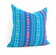 Teal blue Tribal Pillows Covers, Colorful Pillow Covers, Bohemian Decor, Boho Bedding, blue  Pillow Cover 18x18, Mexican tribal pillow.