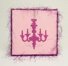 Adorn a little princess's room with a pink chandelier silhouette wall canvas. The look is fun but not too cute. Older girls will enjoy the painting.