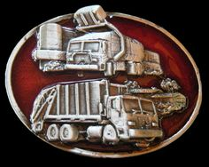 RECYCLING GARBAGE TRUCK DRIVERS VEHICLE DUMP RECYCLE DUMPSTER TRUCKS BELT BUCKLE #Coolbuckles #Casual