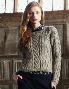 Debbie Bliss Cable Panelled Sweater-free pattern