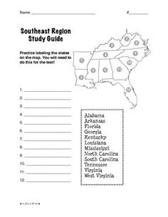 High Quality Regions Of The United States: Southeast, Study Guide (5 Regions)