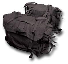 Pair of Canvas Motorcycle Panniers / Saddle Bags, black canvas army packs Green Motorcycle, Motorcycle Luggage, Motorcycle Camping, Motorcycle Outfit, Motorcycle Clothes, Scrambler Motorcycle, Bike Saddle Bags, Bike Bag, Gs 1200 Adventure