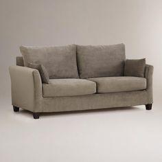 Grey Velvet Sofa | Soft Grey Mink Velvet Luxe Sofa Slipcover | World Market | decor.