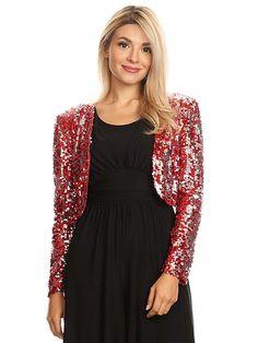 Anna-Kaci Womens Shiny Sequin Long Sleeve Cropped Blazer Bolero Shrug 8f32fce62ea9