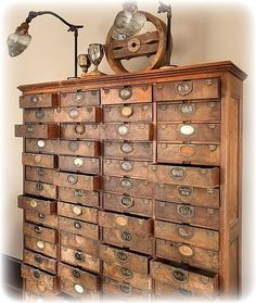 Awesome Vintage Library Card Catalog Chest of Drawers. Repurposed Furniture, Antique Furniture, Steampunk Furniture, Antique Interior, Wooden Furniture, Industrial Furniture, Furniture Ideas, Unusual Furniture, Industrial Closet