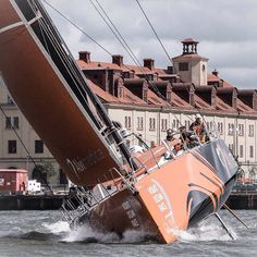 Life at an angle. Photo by Nicola Gillham #volvooceanrace #sailing #Gothenburg