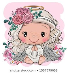 Vector graphic of cute cartoon christmas angel with stock vector (royalty free) 1557679052 - Stock Photo and Stock Image Portfolio by - Kids Cartoon Characters, Cute Characters, Cute Images, Cute Pictures, Cute Cartoon Girl, Madhubani Painting, Cute Disney, Anime Art Girl, Christmas Angels