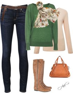 """Green & Orange Fall"" by jill-hammel on Polyvore"
