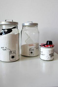 hübsche Aufbewahrung für Waschmittel - im Glas