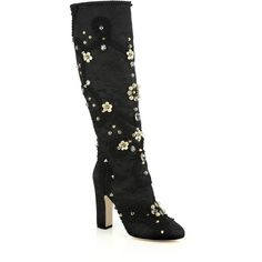 Dolce & Gabbana Jeweled & Studded Satin Knee-High Boots