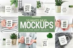 An amazing bundle of 10 white coffee mug mockups for all your prints and quotes.