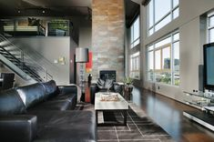 Get inspired by Modern Living Room Design photo by Benning Design. Wayfair lets you find the designer products in the photo and get ideas from thousands of other Modern Living Room Design photos. Interior Exterior, Interior Architecture, Contemporary Architecture, Room Interior, Spacious Living Room, Living Spaces, Living Rooms, City Living, Loft Design