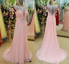 Wholesale Sheer Neck Evening Dress - Buy Real Pictures Hot Pink Chiffon Crystal Formal Evening Dresses Sheer Neck Sweep Train Peach Prom Party Pageant Bridal Gowns Arabic 2014 Cheap, $131.94 | DHgate