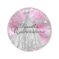 Pink Sparkle Snowflake Quinceanera Sticker Round Stickers