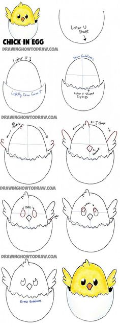 how to draw baby cartoon chicks - easy tutorial for kids drawings How to Draw a Baby Chick in an Egg Shell for Easter Drawing Tutorial for Kids - How to Draw Step by Step Drawing Tutorials Baby Drawing Easy, Baby Cartoon Drawing, Cartoon Drawing Tutorial, Drawing For Kids, Cartoon Drawings, Animal Drawings, Cartoon Art, Easter Drawings, Easter Paintings