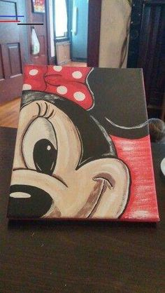 Painting for kids, diy painting, painting & drawing, minnie maus, disne Disney Kunst, Disney Art, Disney Crafts, Walt Disney, Diy Painting, Painting & Drawing, Painting Abstract, Acrylic Paintings, Toile Disney