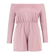 Boohoo Plus Poppy Off The Shoulder Slinky Playsuit ($22) ❤ liked on Polyvore featuring jumpsuits, rompers, pink romper, playsuit romper, off the shoulder romper, off shoulder romper and pink rompers