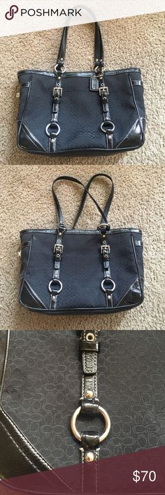 Signature black Coach purse Practically perfect condition!!! Signature print black Coach shoulder bag, with three inside pockets and three outside pockets. Classic leather details with some silver accents. A purse that never goes out of style! Coach Bags Shoulder Bags
