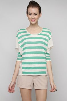 Green Striped Knit Contrast Top