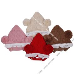 Baby Toddler Kids Wool Knitted Double Balls Earflap Hat