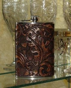 Oak Leaf Leather Flask in Deep Earth Tones by moonstruckleather, $39.95