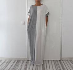 Grey and White Long MAXI Oversized Elegant by cherryblossomsdress