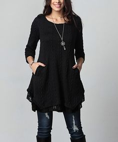 Another great find on #zulily! Black Cable Knit & Lace Layered Side-Pocket Tunic - Plus #zulilyfinds