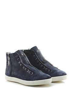 CESARE P. - Sneakers - Uomo - Sneaker in pelle con zip su ambo i lati e suola in gomma. Tacco 30, platform 25 con battuta 5. - BLU - € 230.00