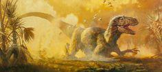 Yutyrannus. Feathered dino tyrant kicking up the dust by James Gurney.