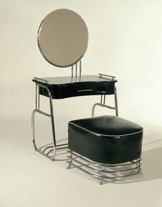 Art Deco Vanity and Stool - c. 1934 - Design by Kem Weber (American, born Germany, - Manufacturer: Lloyd Manufacturing Company - Brooklyn Museum