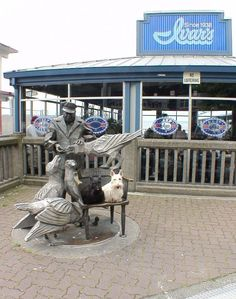 """Ivar's, Seattle.  Ivar loved feeding  the seagulls -- french fries!  Now you know where the """"Happy as a bird with a French Fry"""" meme comes from."""