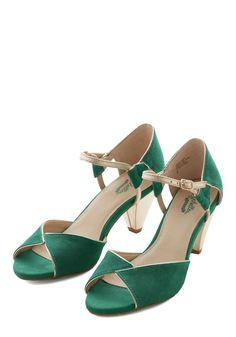 Curiosity Heel in Emerald by Seychelles - Mid, Leather, Green, Gold, Solid, Special Occasion, Prom, Wedding, Party, Holiday Party, Vintage Inspired, 20s, Luxe, Better, Peep Toe, Variation